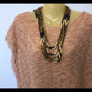 Jewelry - Multi Strand Brown Ivory Black Wood Bead Necklace